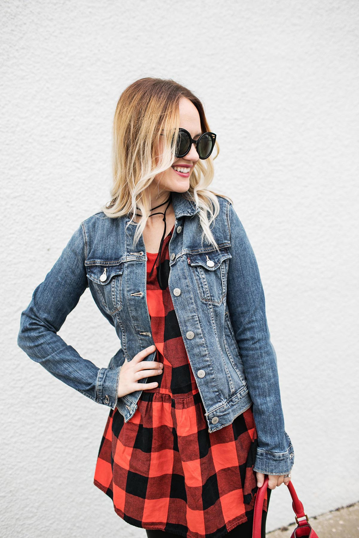 Red plaid and denim