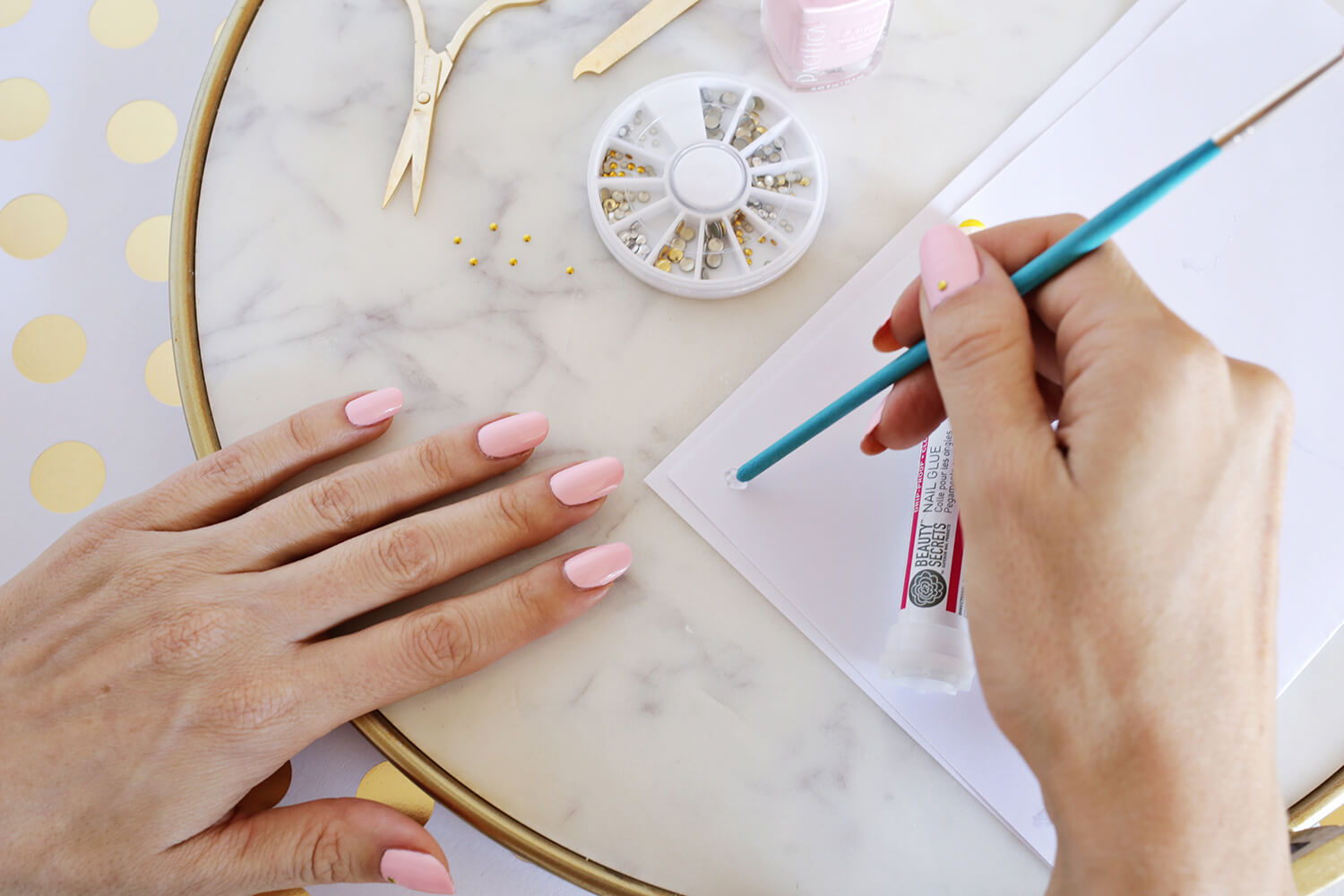 Gold Stud Manicure DIY (click through for tutorial)