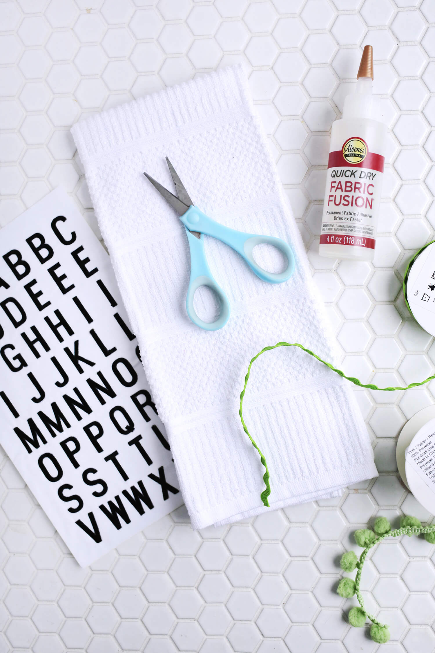 Embroidered Phrase Kitchen Towel DIY (No-Sew!) - A Beautiful Mess