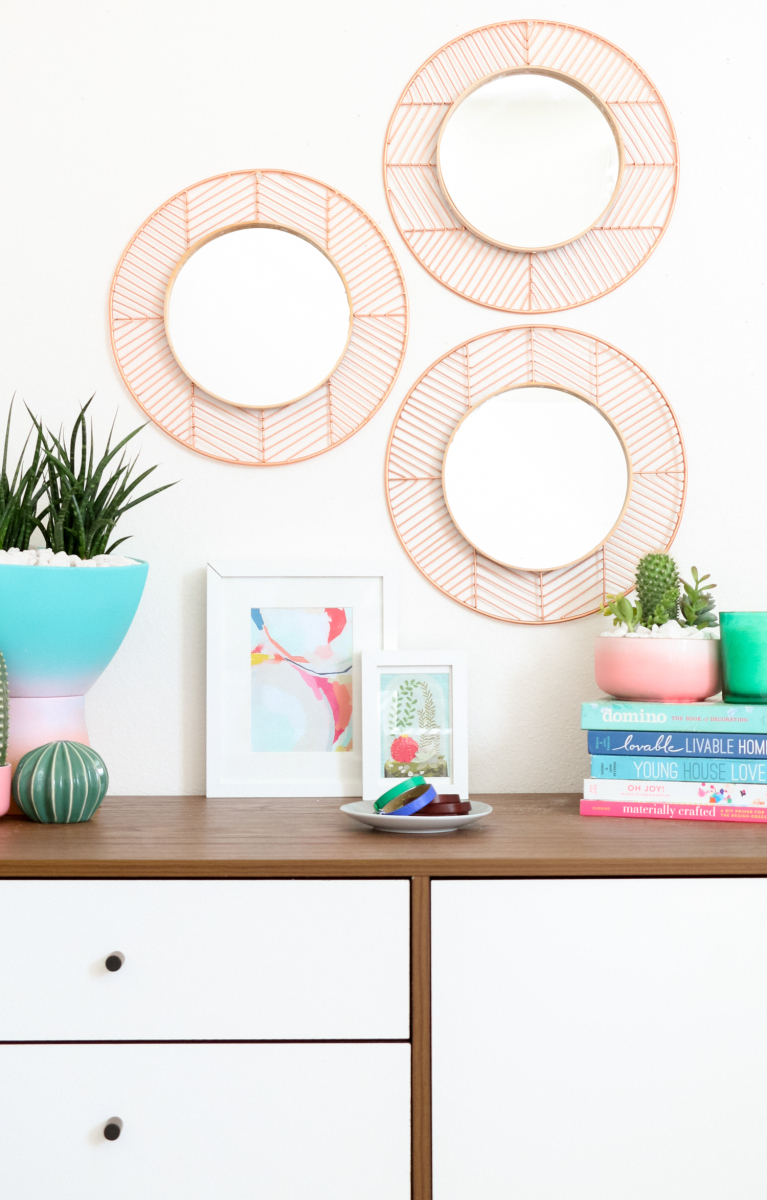DIY Easy Geometric Copper and Wood Mirrors - A Beautiful Mess