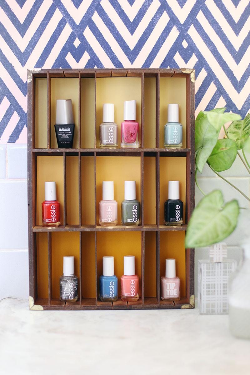 Use an old type tray to display nail polish
