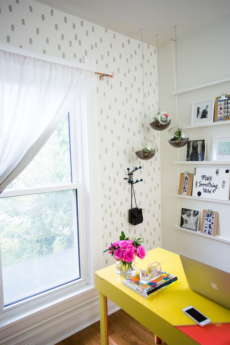 Elsie's Patterned Accent Wall and Half-Painted Door