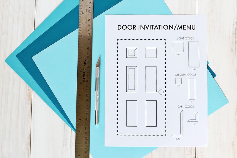 Make your own paper door for a party invite or menu (click through for template & Our Housewarming Door Menu DIY (Template Included!) \u2013 A Beautiful Mess Pezcame.Com