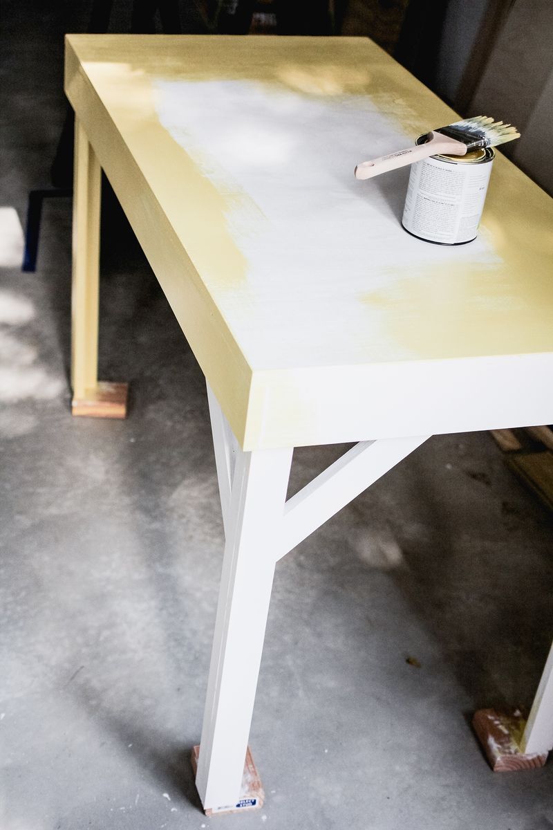 Office desk w: color infused epoxy top - prepping for paint (click for more details)