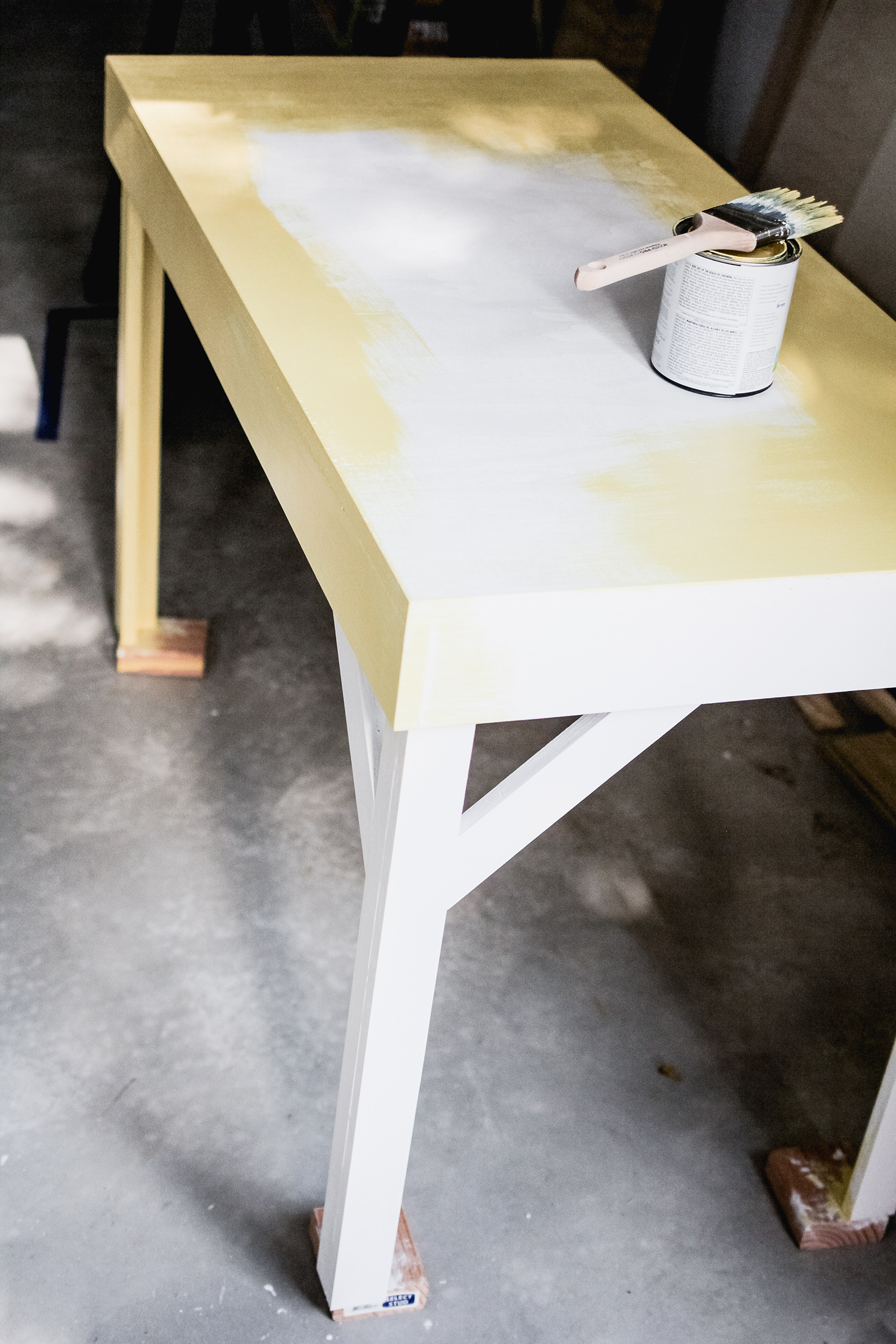 office desk w color infused epoxy top prepping for paint click for more abm office desk diy