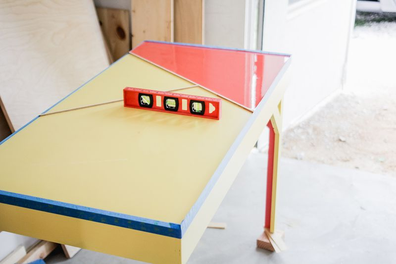 Office desk w: color infused epoxy top - pouring epoxy (click for more details)