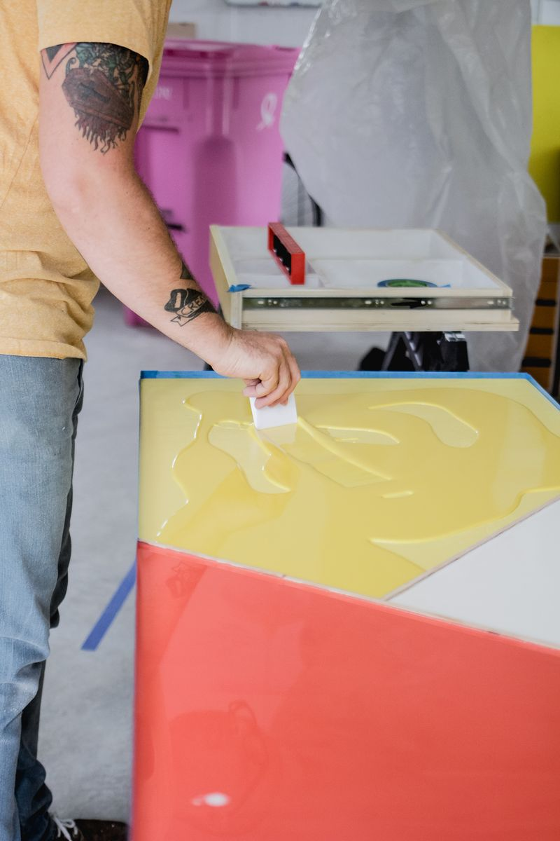 Office desk w: color infused epoxy top - mixing in paint (click for more details)