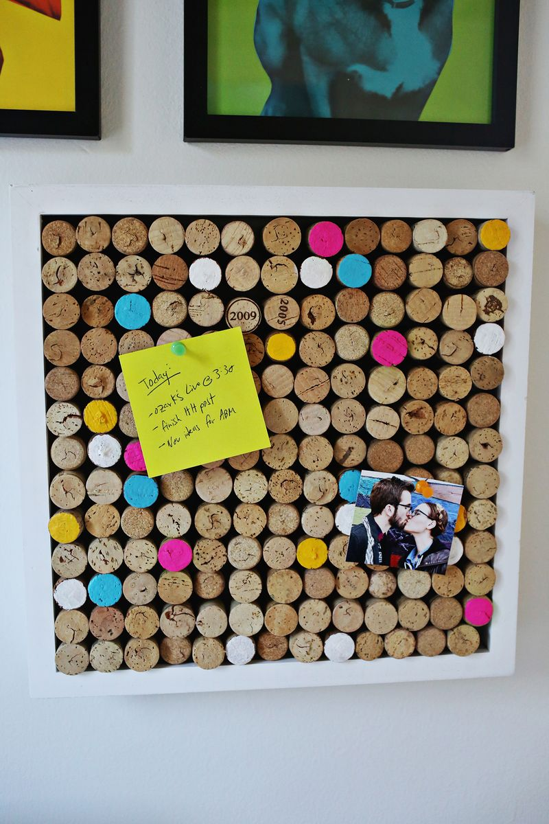 Wine cork bulletin board via A Beautiful Mess