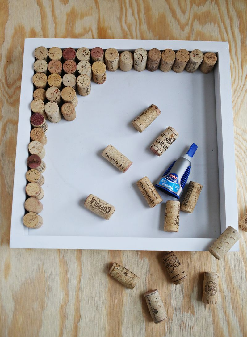 How to make a wine cork bulletin board from a shadow box