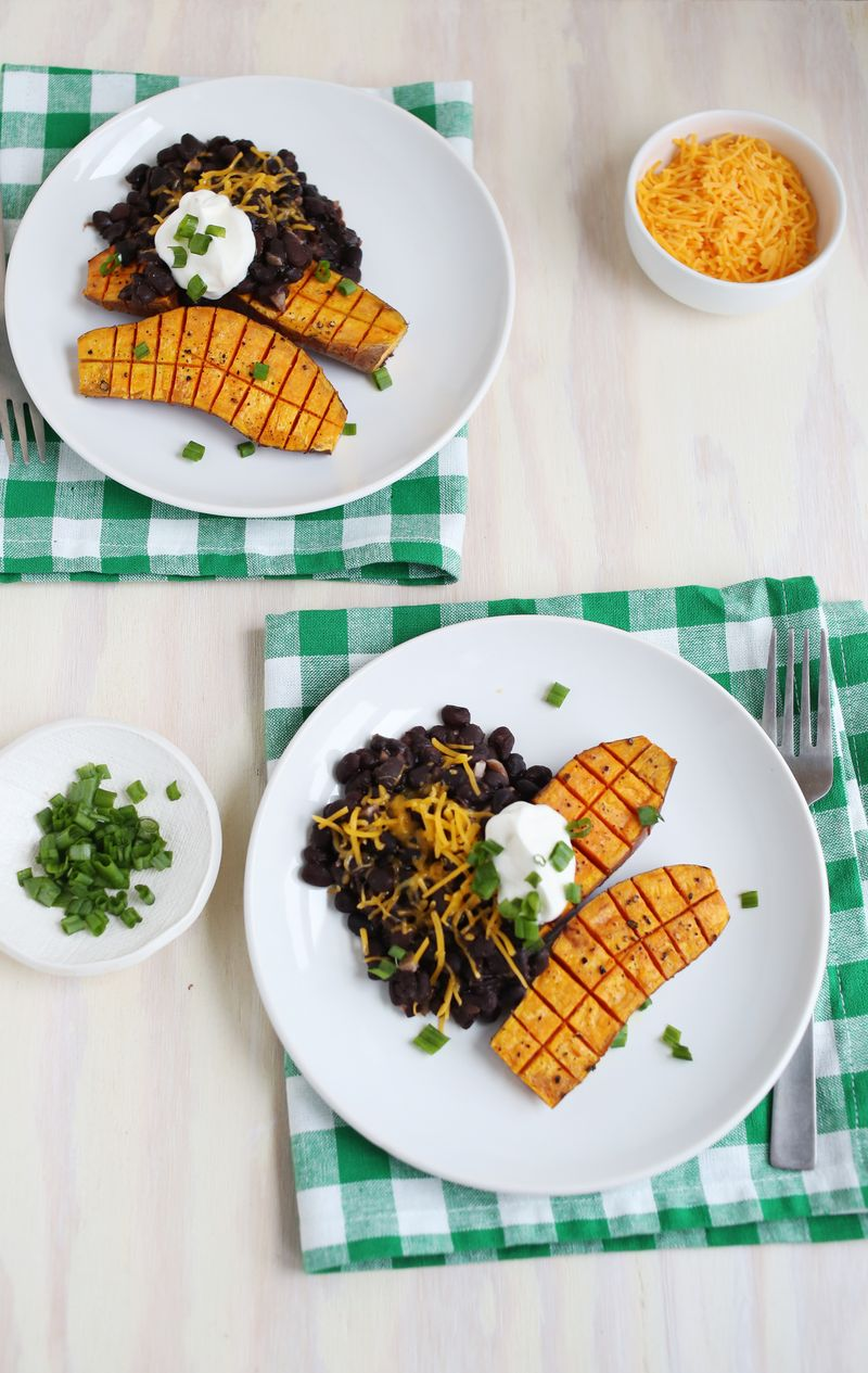 Roasted sweet potato and black beans