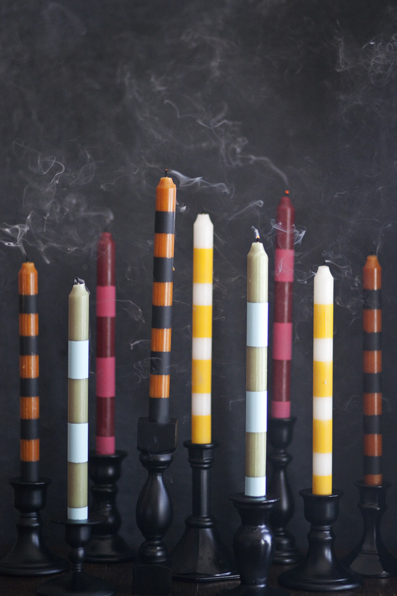 Make these striped candlesticks