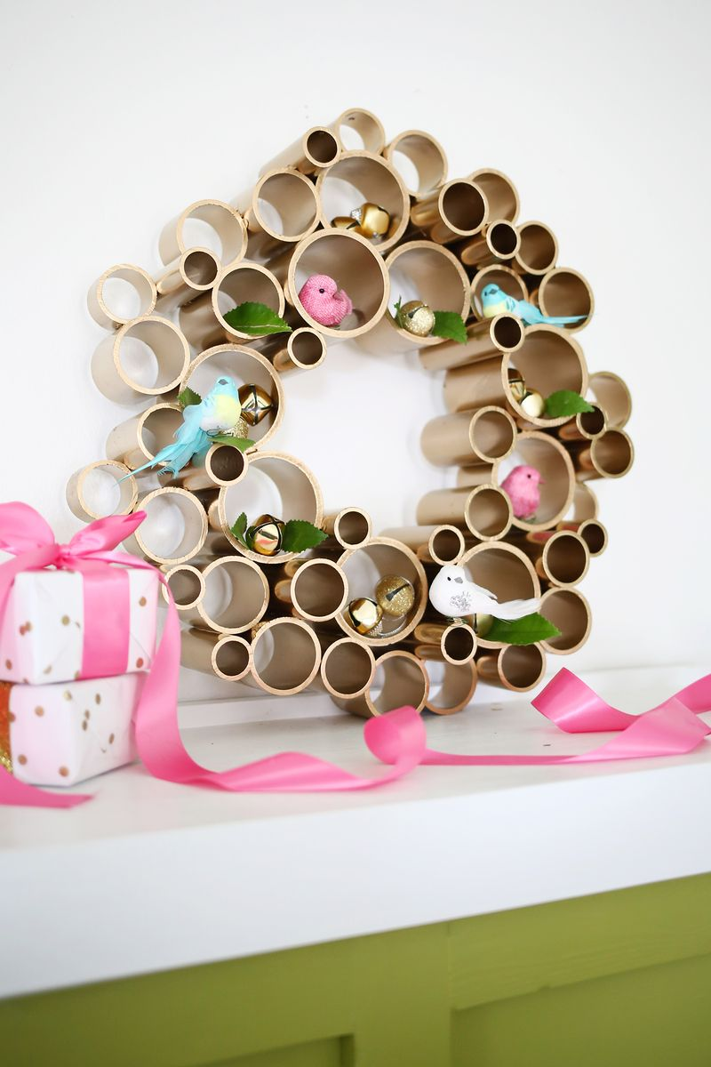 try this pvc pipe wreath a beautiful mess. Black Bedroom Furniture Sets. Home Design Ideas