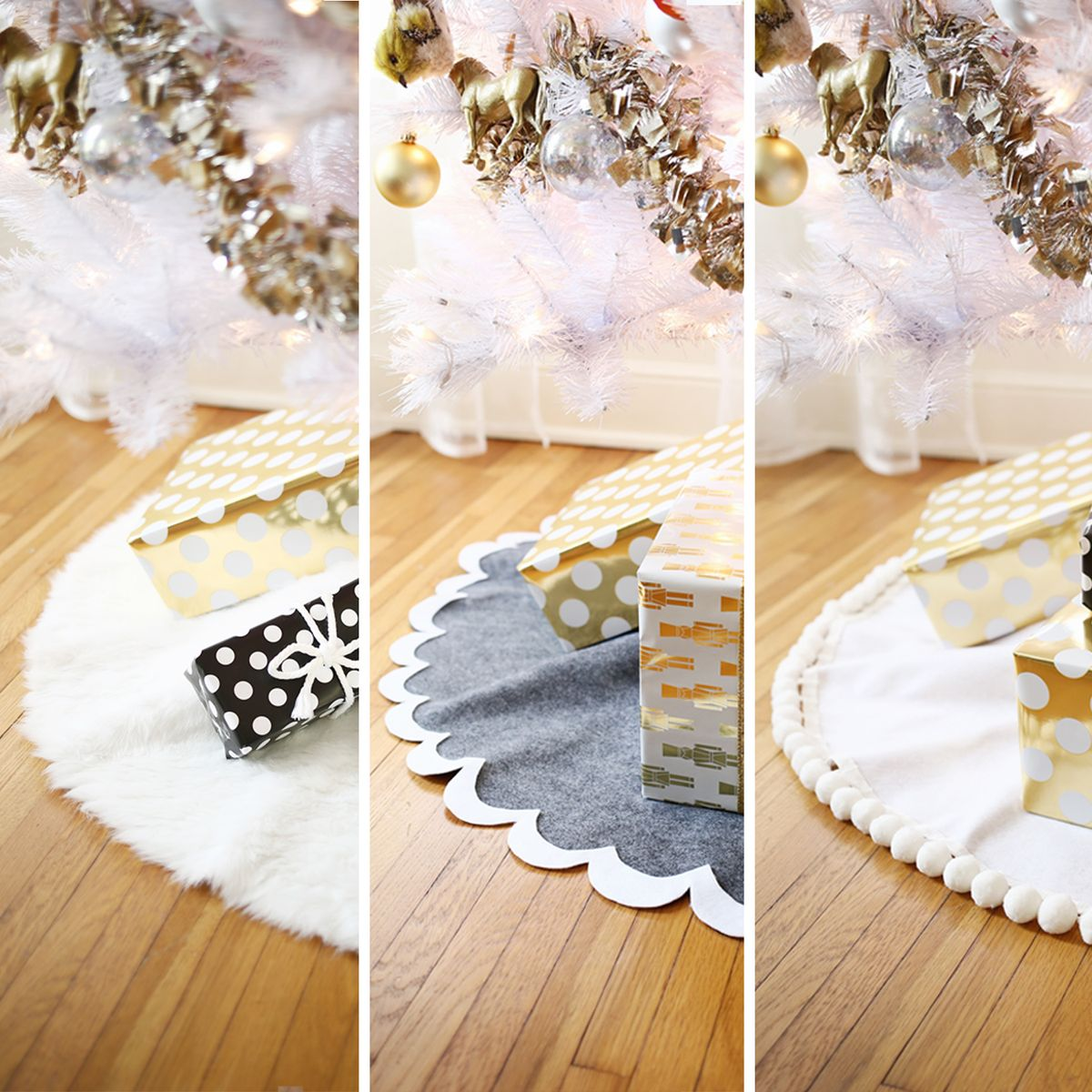 Easy no sew tree skirts a beautiful mess