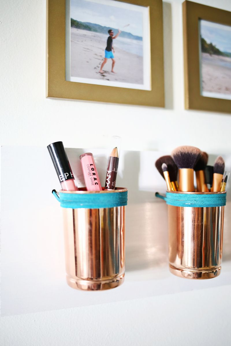 leather copper cup organizer diy a beautiful mess. Black Bedroom Furniture Sets. Home Design Ideas