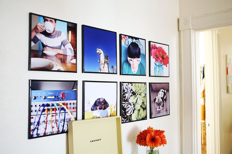 Record Frame Instagram Photo Wall more details on www.abeautifulmess.com