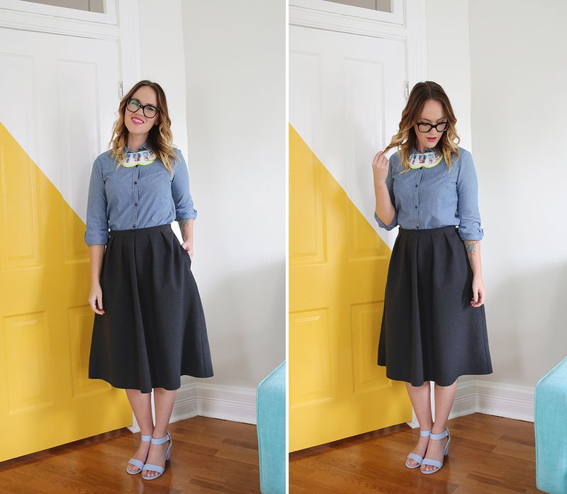 Work wears glasses and a skirt