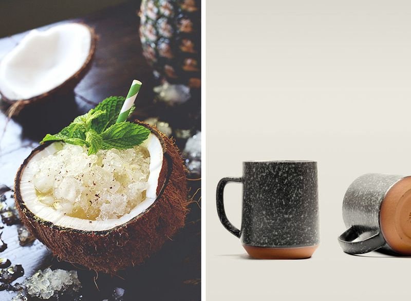 Favorite things-cocnut drink and pottery