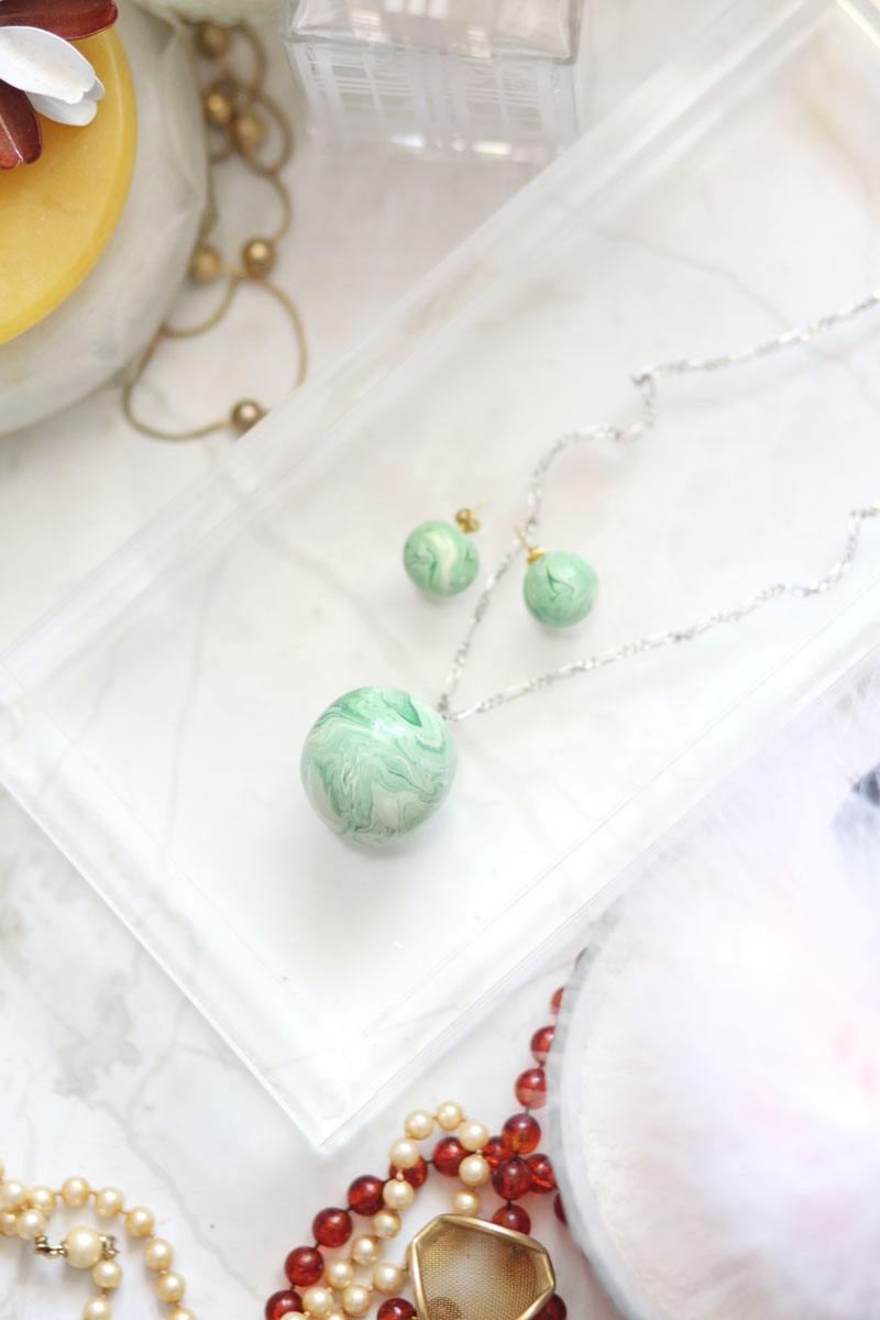 DIY marble and jade earring and necklacce set