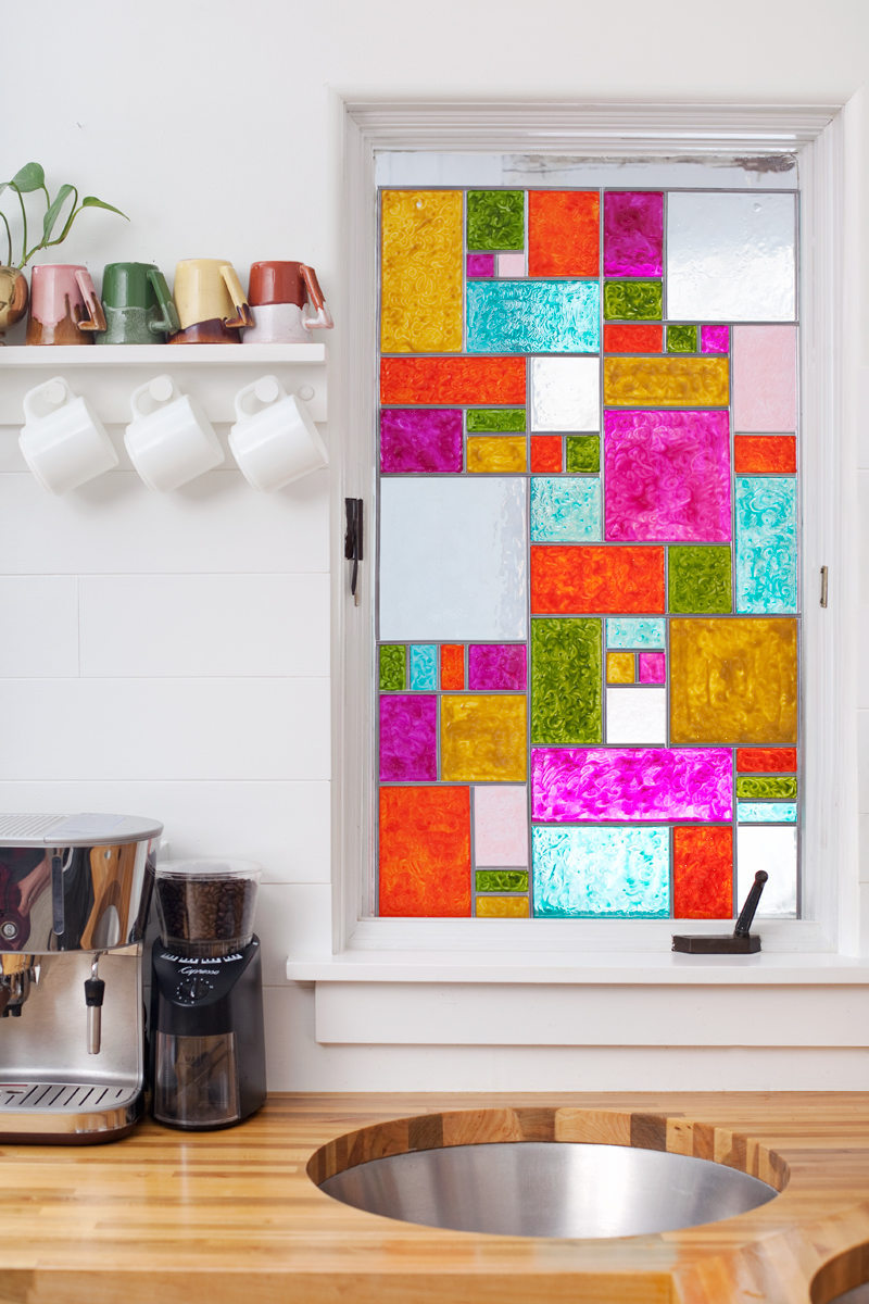 Diy faux stained glass a beautiful mess how to make a faux stained glass panel planetlyrics Gallery