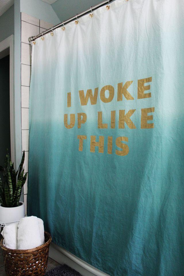Statement shower curtain DIY