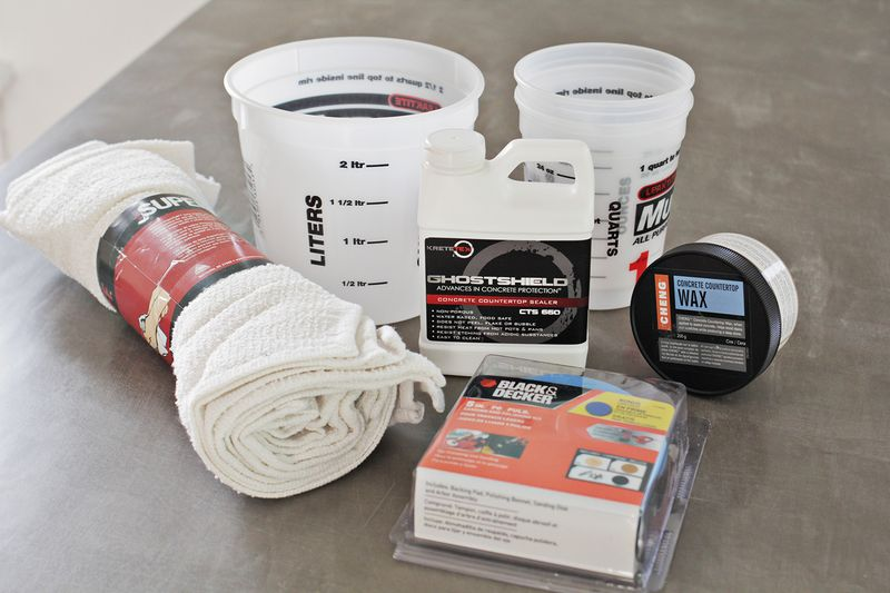 Supplies to skim coat a counter top