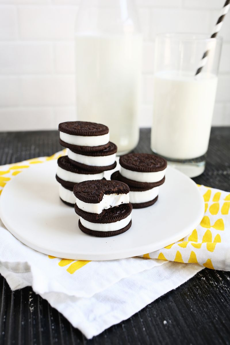 Double Stuffed Oreo Jello Shots via A Beautiful Mess