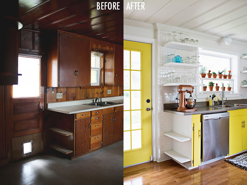 A Beautiful Mess kitchen before:after