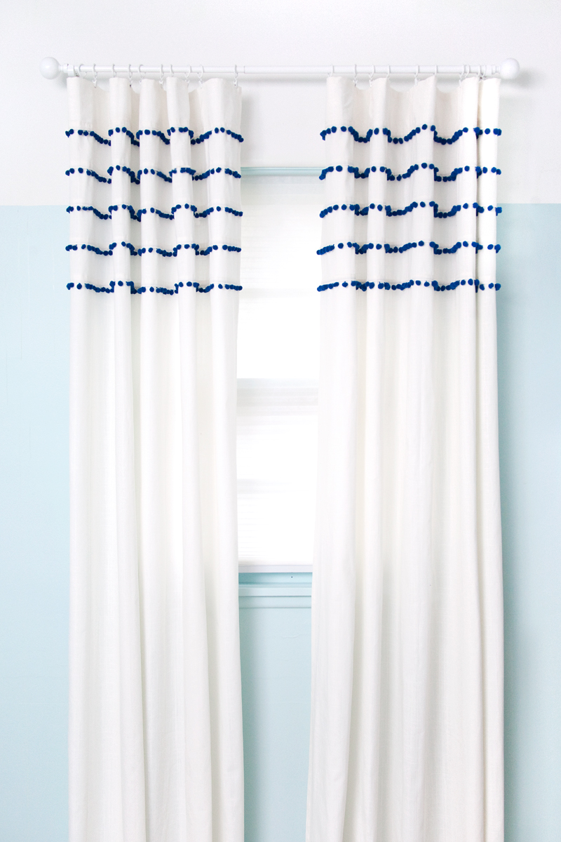 Superb Make A Whimsical Pair Of Pom Pom Striped Curtains For Surprisingly Little  Money.
