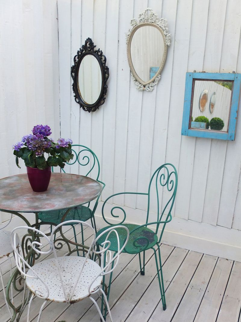 Garden table and mirrors