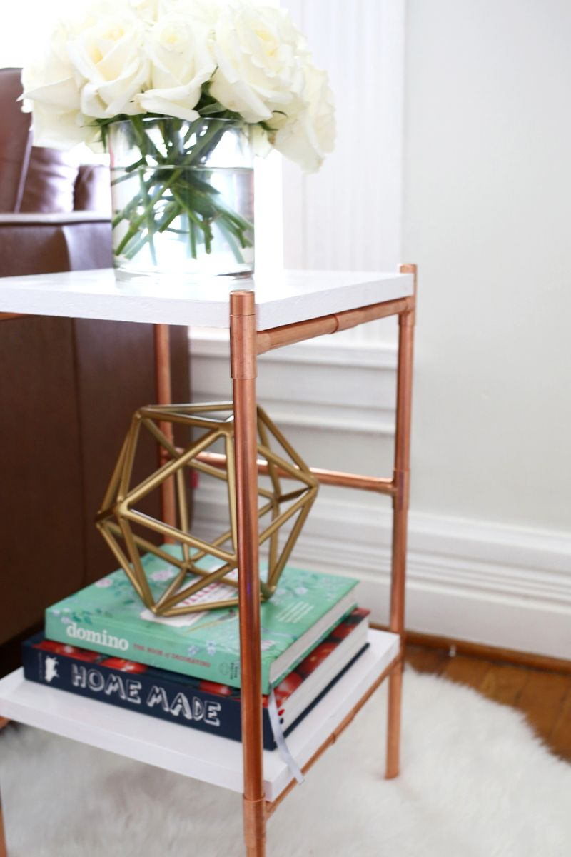 ... So Cute! Copper Pipe Side Table DIY (click Through For Tutorial) ...
