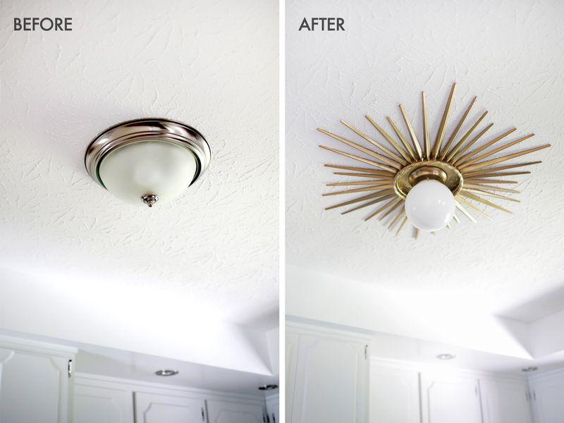 Sunburst ceiling medallion DIY (click through for tutorial) - Sunburst Mirror Medallion DIY – A Beautiful Mess