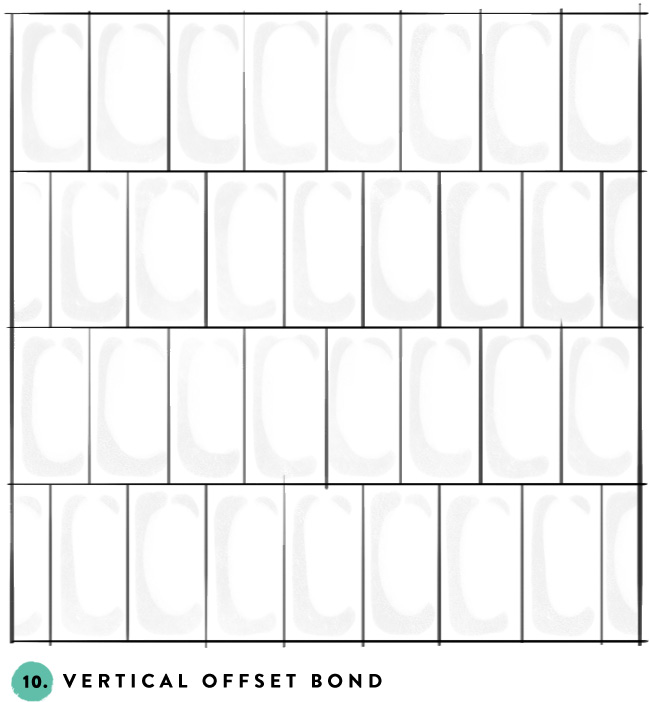 What's your favorite subway tile pattern?  10- vertical offset bond