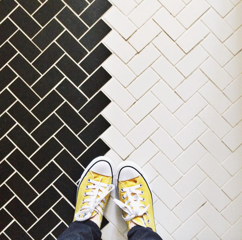 Black and white herringbone tile inspiration