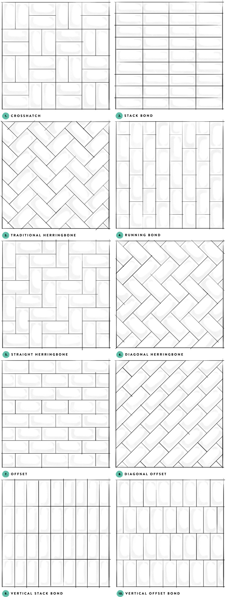 Subway Tile Designs Inspiration via A Beautiful Mess