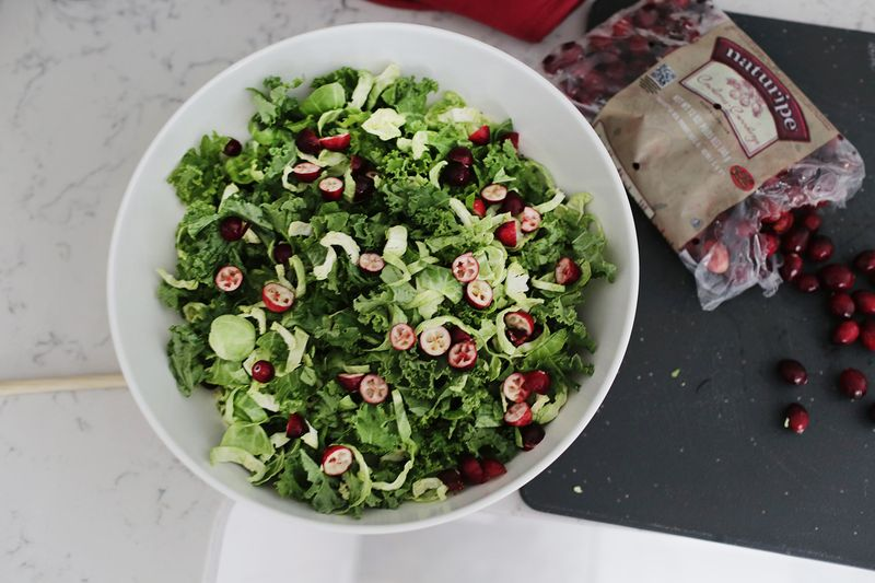 Creamy kale and cranberry salad