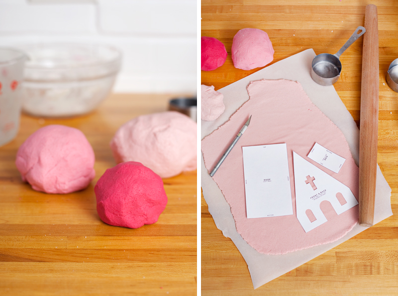 vintage putz-inspired salt dough houses— click through for printable templates to make your own.