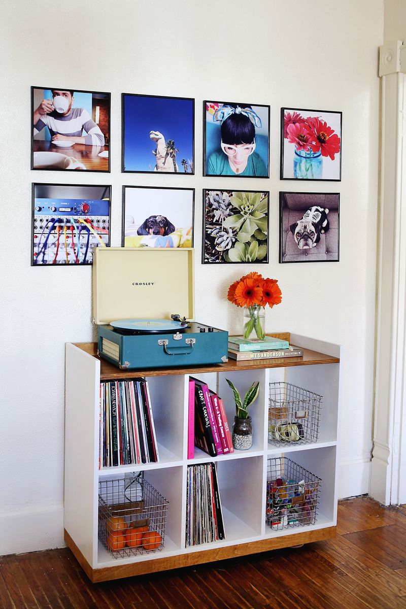 Record frame photo wall
