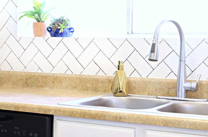 DIY Herringbone Faux Backsplash   Click For Tutorial!