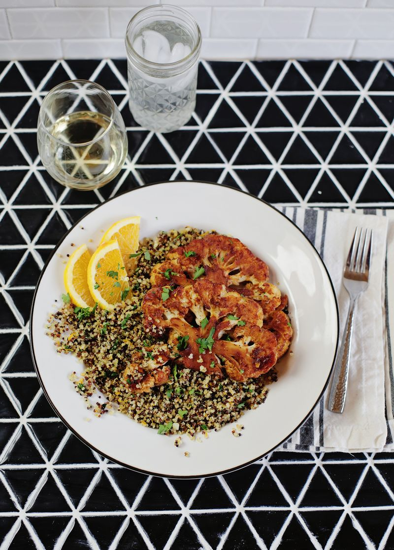 Smoky Cauliflower Steaks with Oranges and Herbs Quinoa (via abeautifulmess.com)