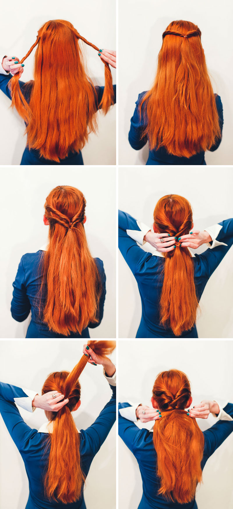 Step One Take A Small Section Of Hair From Both Sides The Head And Twist Them I Like To Inwards Tie Together In Ponytail