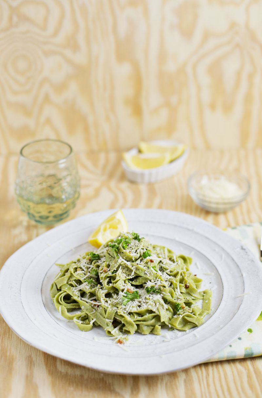Kale pasta with easy garlic sauce (via abeautifulmess.com)