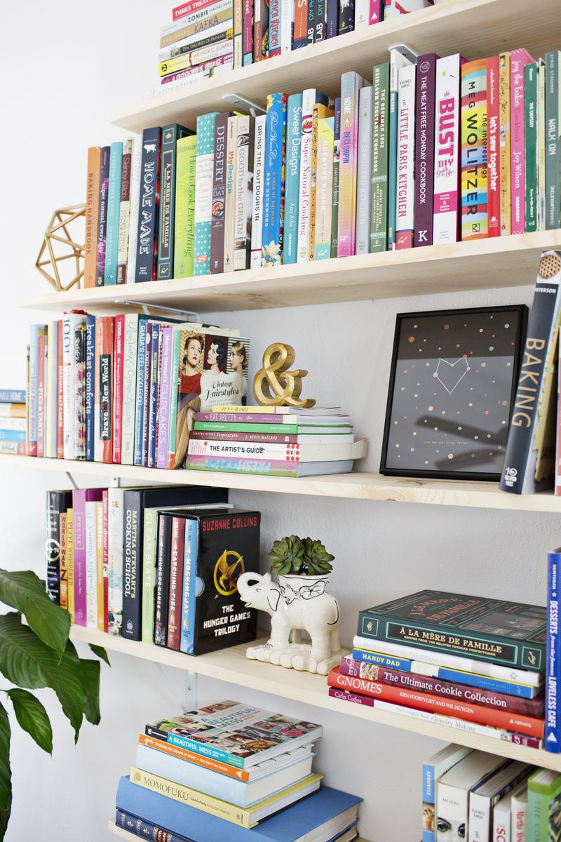 DIY Diamond Shaped Book Shelves (via abeautifulmess.com) close up