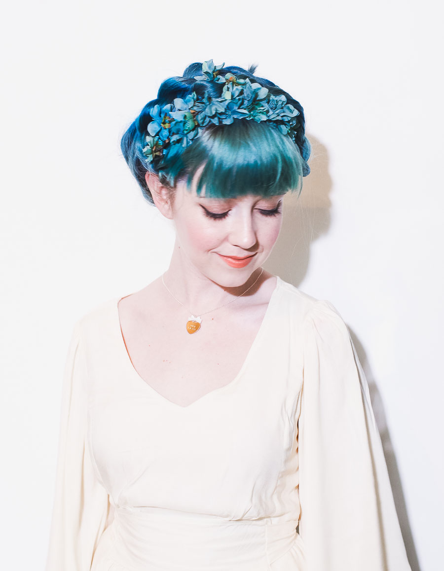 Six ways to style flower crowns a beautiful mess six ways to style a flower crown izmirmasajfo