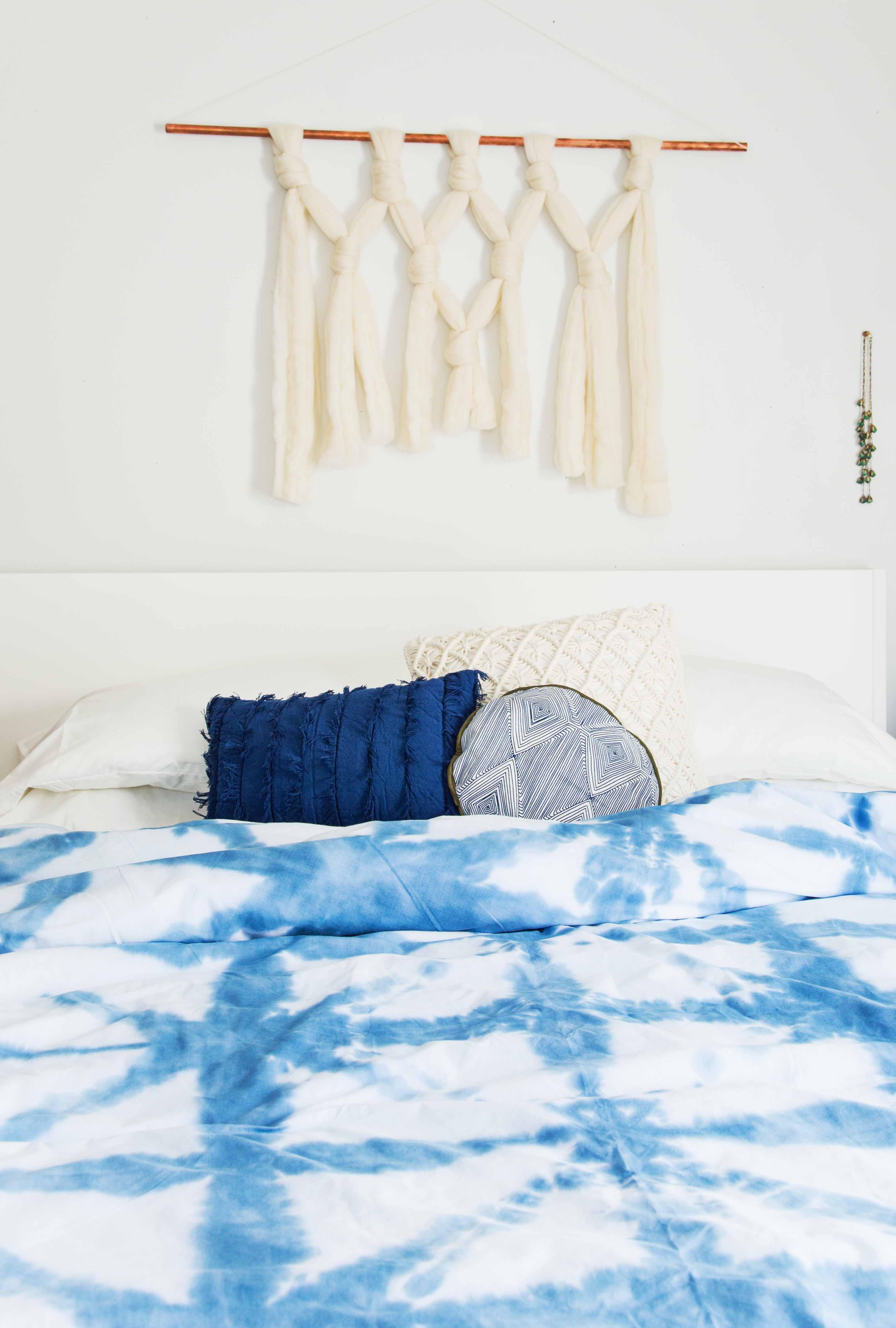 Perfect  uIKEA DVALA duvet cover yards of rope or twine packets of Tulip fabric dye in denim blue cup table salt Saran wrap u x u x u balsa wood