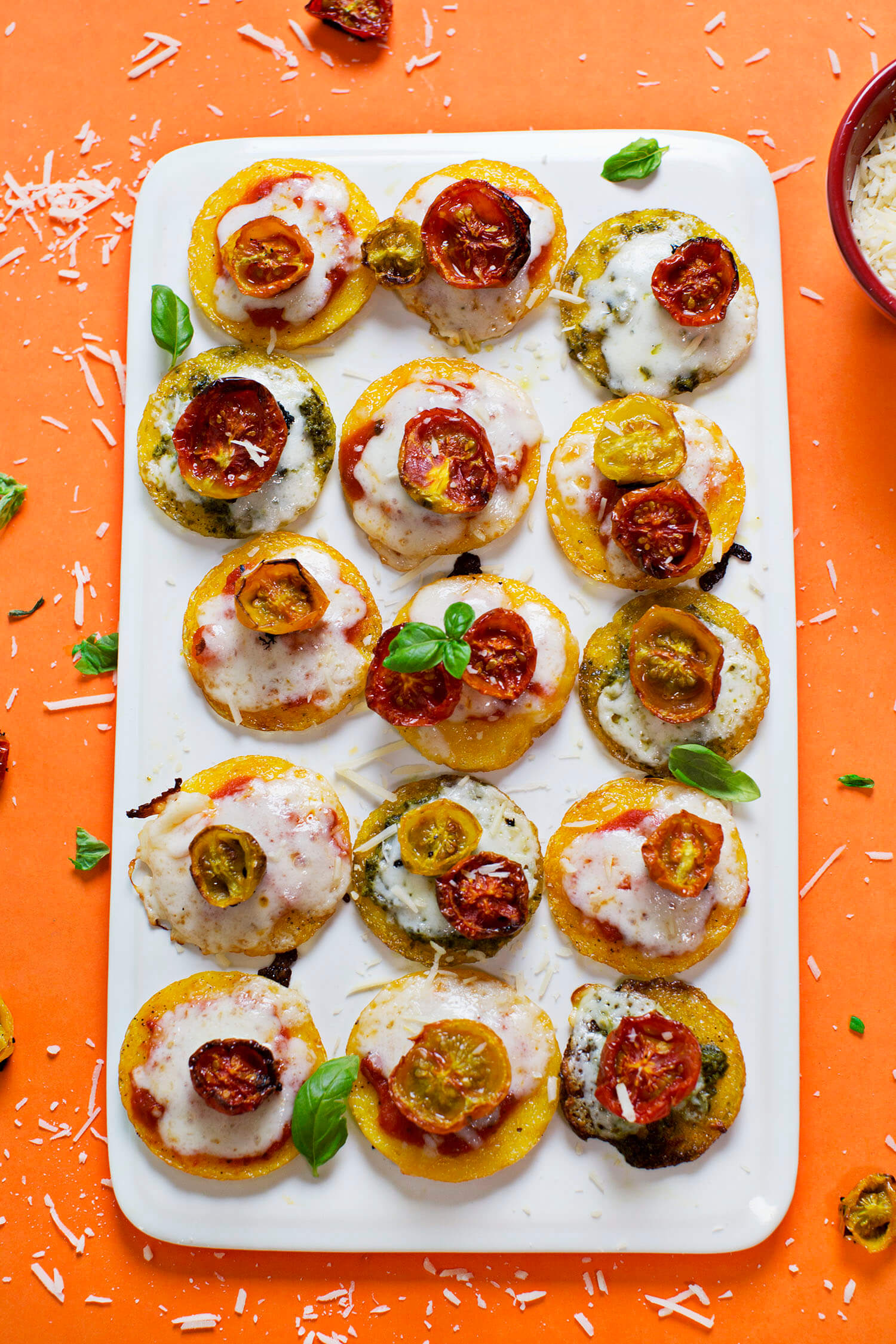 Mini Polenta Pizzas (via abeautifulmess.com)