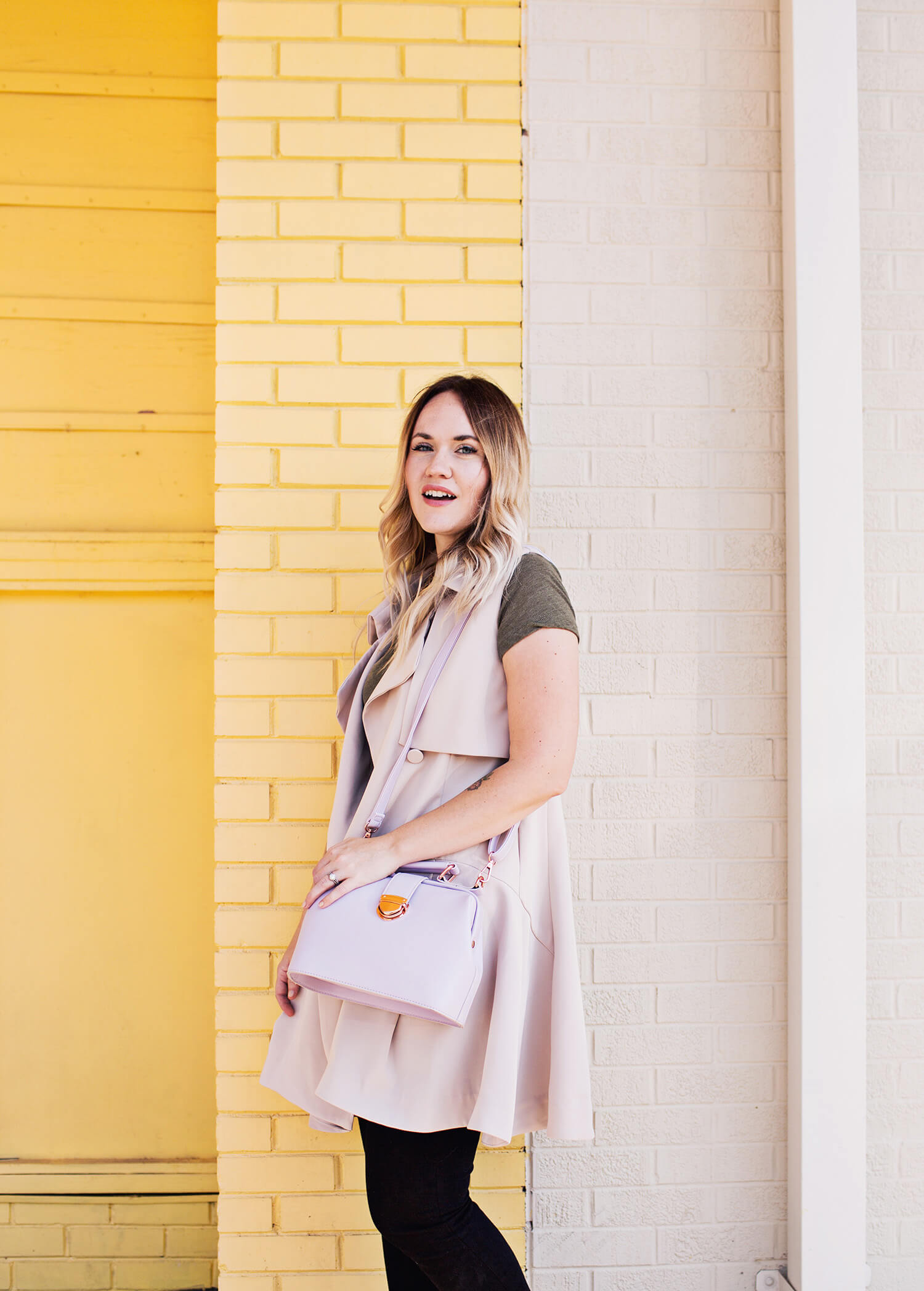 Trench vest and lavender purse