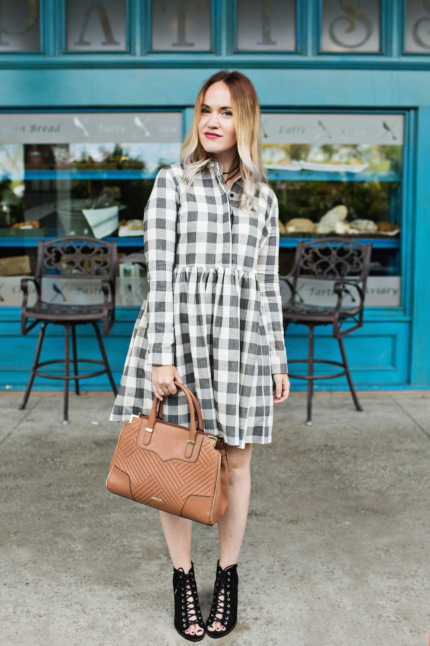 Gingham dress for fall