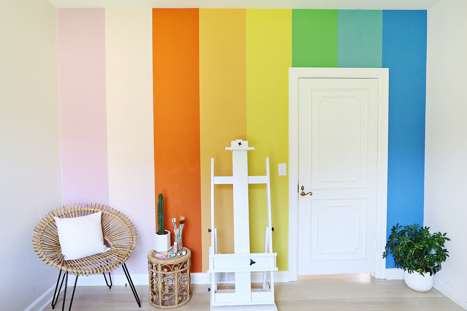 DIY rainbow wall with chalk paint! See more on ABeautifulMess.com