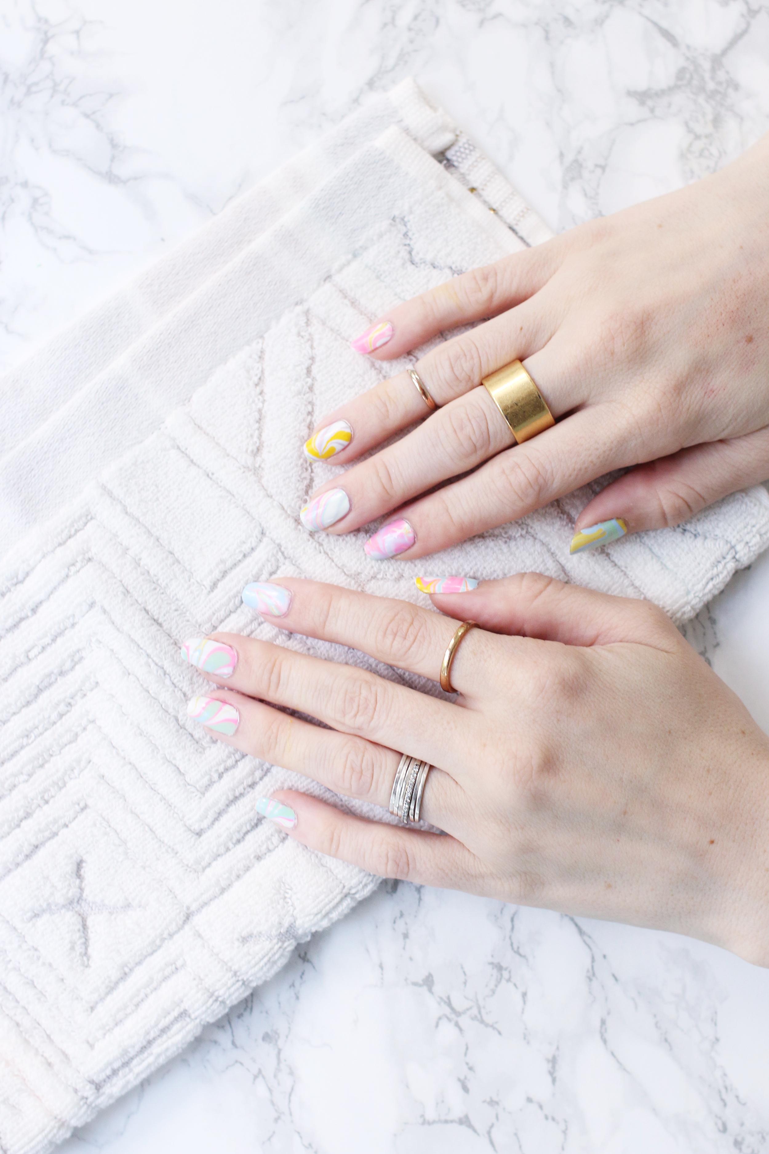 Sherbet water marble mani DIY