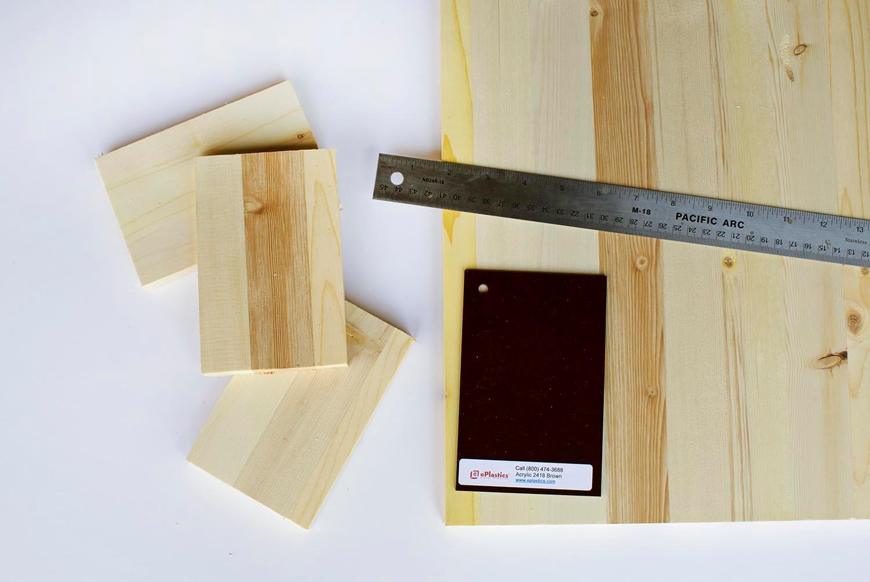 Cut wood boards